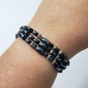 Magnetic beaded wrap bracelet